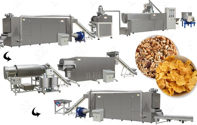 Breakfast Puffed Grain Machine|Corn Flakes Production Line